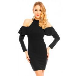 Cold Shoulder Kleid mit Ärmel-Volant