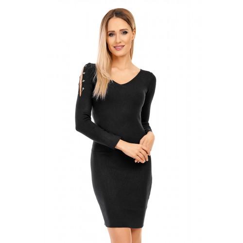 Kleid aus leichtem Strick mit V-Ausschnitt