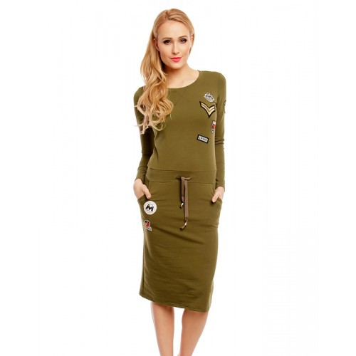 Sweat-Kleid mit Applikationen Khaki