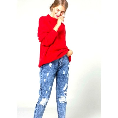 Jeans im Used-Look mit hoher Taille